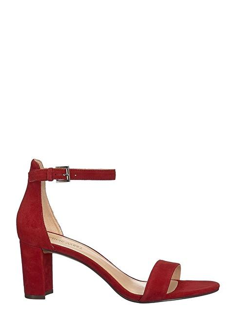 Nine West Kalın Topuklu Süet Sandalet Kırmızı